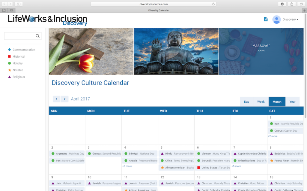 Discovery Channel Diversity Calendar