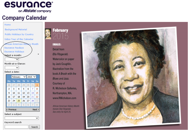 esurance custom calendar