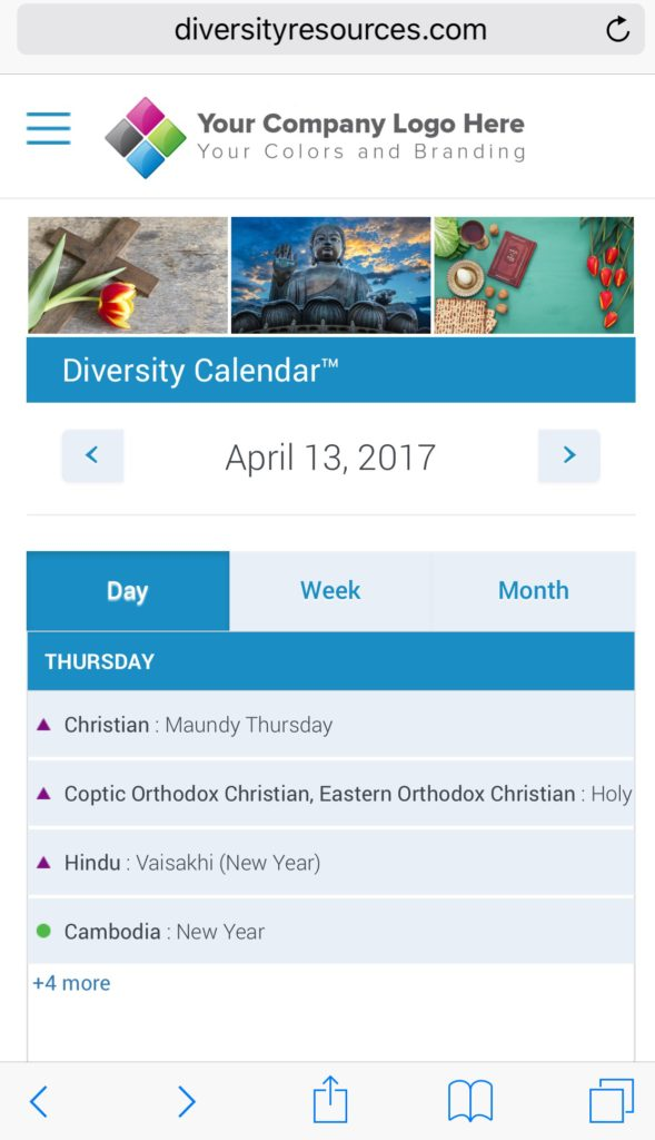 Mobile Diversity Calendar