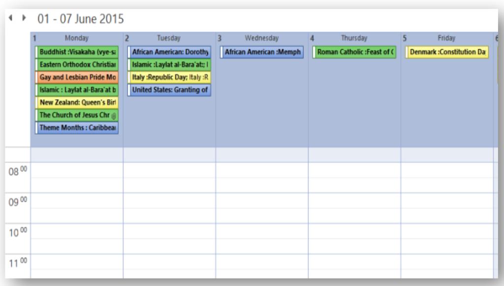 Outlook Diversity Calendar
