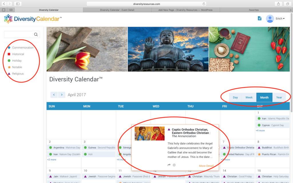 Diversity Calendar Views, Categories and Preview