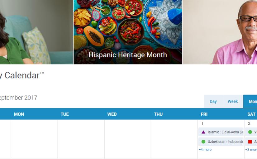 September 2017 Diversity Calendar