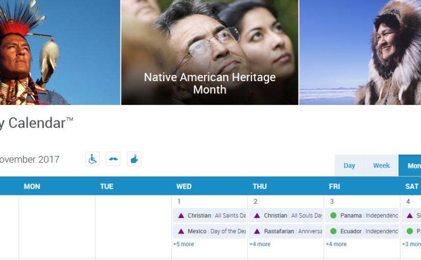 November 2017 Diversity Calendar