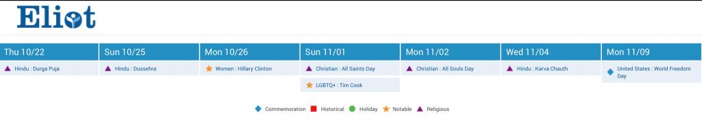Diversity Calendar widget