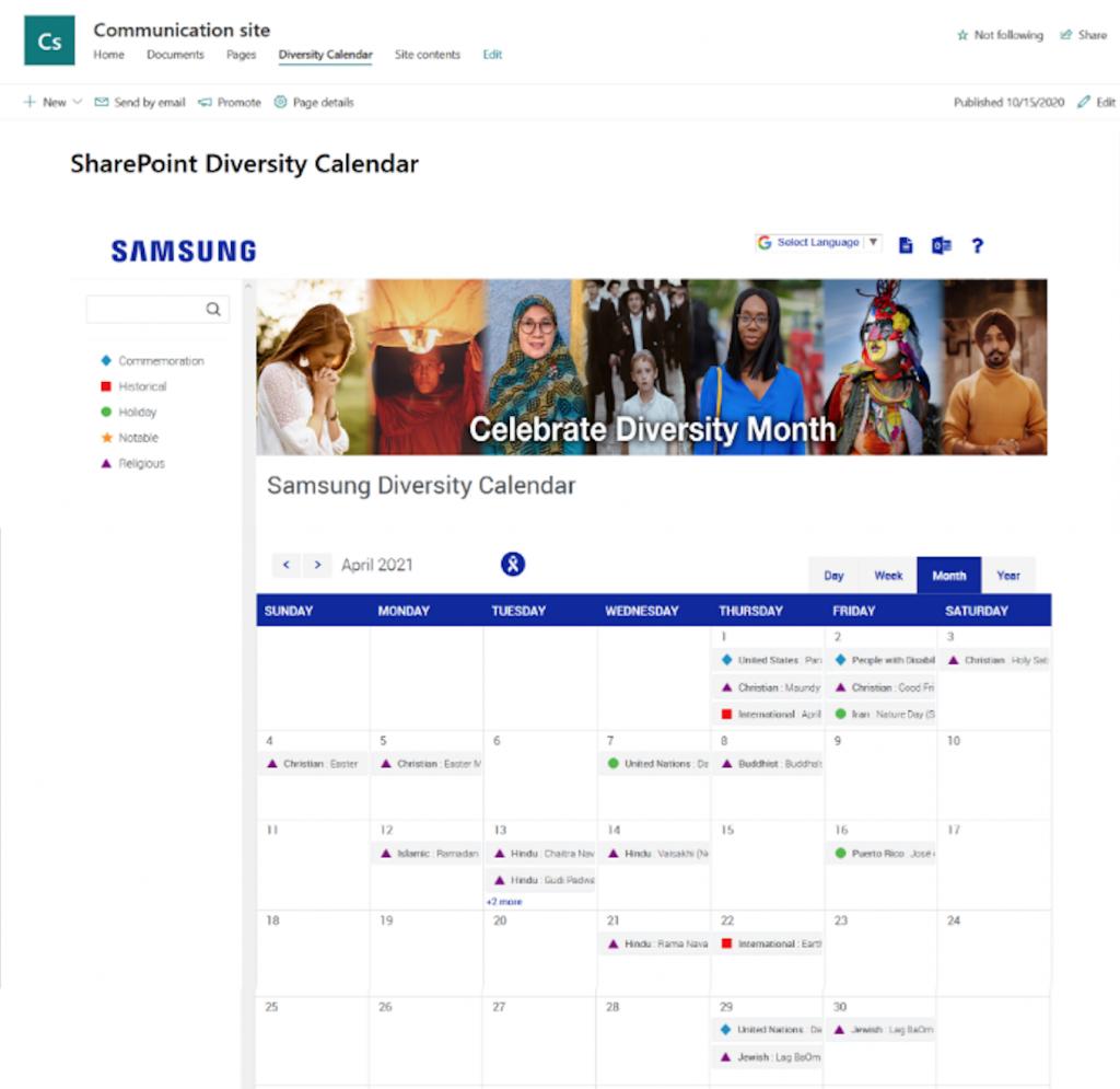 SharePoint Diversity Calendar